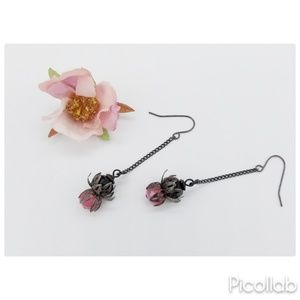 Pink and Black Czech Crystal Earrings